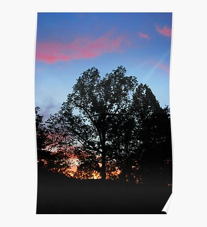 Red Clouds Blue Sky Poster