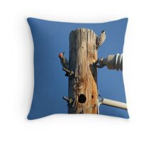 Mr. And Mrs. Woodpecker Throw Pillow