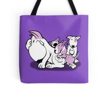 Bull Terrier Pups with Mum Lilac Tote Bag