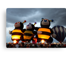 Bumble Bees Glowing Canvas Print