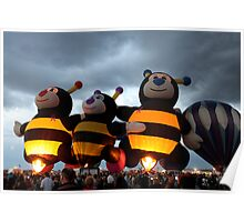 Bumble Bees Glowing Poster
