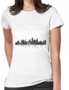 St Paul, Minnesota Skyline - B&W Womens Fitted T-Shirt