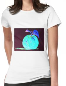 Abstract Blue And Teal Apple Womens Fitted T-Shirt