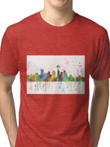 Seattle, Washington Skyline Tri-blend T-Shirt