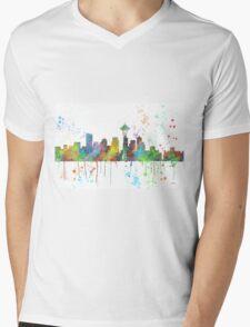 Seattle, Washington Skyline Mens V-Neck T-Shirt