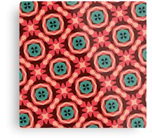 Geometric Pattern Coral Teal Button  Metal Print