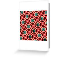 Geometric Pattern Coral Teal Button  Greeting Card