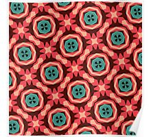 Geometric Pattern Coral Teal Button  Poster