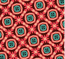 Geometric Pattern Coral Teal Button  by BenchmarkArt