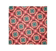 Geometric Pattern Coral Teal Button  Scarf