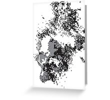 SKULLS BLACK AND WHITE FADING Greeting Card