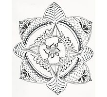 Adult coloring in black and white tattoo print Photographic Print