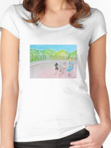 Outdoor cafe Women's Fitted Scoop T-Shirt