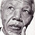 Nelson Mandela, Ink Drawing by RIYAZ POCKETWALA