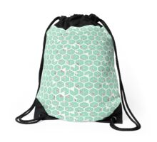 Crowded umbrellas in mint, black and white Drawstring Bag