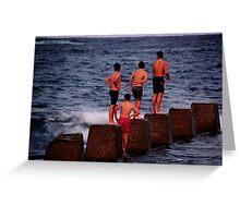 Boys at the beach Greeting Card