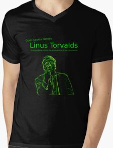 Linux Open Source Heroes - Linus Torvalds Mens V-Neck T-Shirt