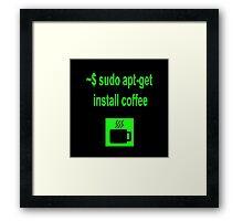 Linux sudo apt-get install coffee Framed Print