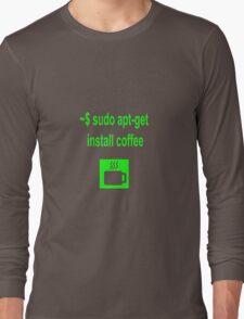 Linux sudo apt-get install coffee Long Sleeve T-Shirt