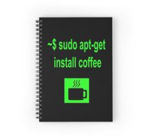 Linux sudo apt-get install coffee Spiral Notebook