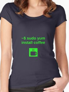 Linux sudo yum install coffee Women's Fitted Scoop T-Shirt