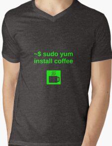 Linux sudo yum install coffee Mens V-Neck T-Shirt