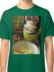Jolly chimp enjoys His Cereal (Text version) Classic T-Shirt