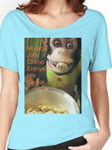 Jolly chimp enjoys His Cereal (Text version) Women's Relaxed Fit T-Shirt