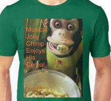 Jolly chimp enjoys His Cereal (Text version) Unisex T-Shirt