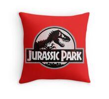 Jurassic Park Logo Grunge Throw Pillow