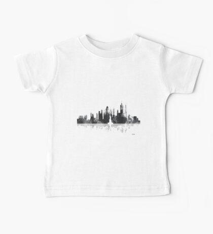 New York, NY Skyline - Black and White Baby Tee