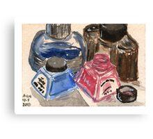 Ink Bottles Canvas Print