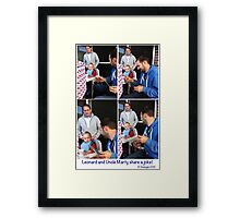 Young nephew LIKES uncle's humour!!  Framed Print