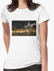 Brussels - the Magnificent Grand Place at Night Womens Fitted T-Shirt