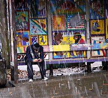 Snowy,Bus Stop, Color by Jim Scolman