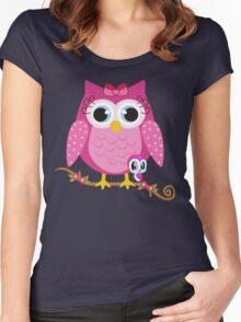 Pretty Pink Owl .. tee shirt Women's Fitted Scoop T-Shirt