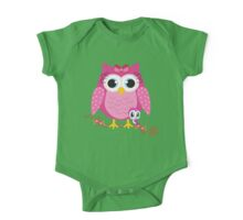 Pretty Pink Owl .. tee shirt One Piece - Short Sleeve