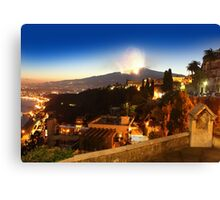 Etna eruption, view from Taormina, Sicily - ITALY Canvas Print