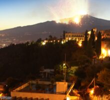 Etna eruption, view from Taormina, Sicily - ITALY Sticker