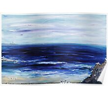 Seascape with White cats Poster