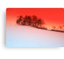sunset over snow Upton, Chester Canvas Print