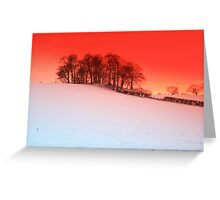 sunset over snow Upton, Chester Greeting Card
