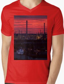 Rotterdam Harbour Skyline at Sunset, from Euromast Mens V-Neck T-Shirt
