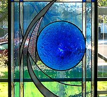 "Cobalt Moon [14"" x 21"" stained glass composition] by don quackenbush"