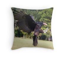 Turkey Vulture Landing Throw Pillow