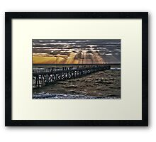 Sunset on the jetty Framed Print
