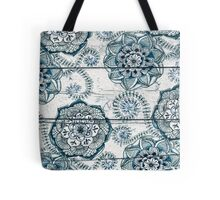 Shabby Chic Navy Blue doodles on Wood Tote Bag