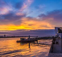 Sunset at the Liverpool Pier Head by Paul Madden