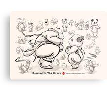 Panda And Polar Bear Dancing In The Street Metal Print