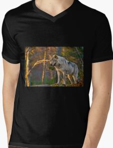 Timber Wolf Mens V-Neck T-Shirt